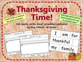 THANKSGIVING TIME ~ Cut, Paste, Write, Draw! Scrambled Sentences