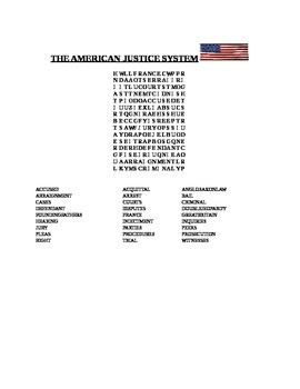 THE AMERICAN JUSTICE SYSTEM WORD SEARCH