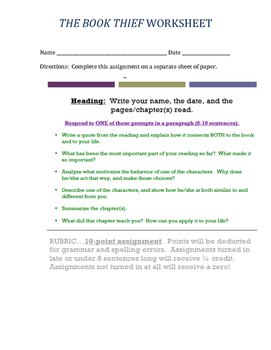 THE BOOK THIEF WORKSHEET
