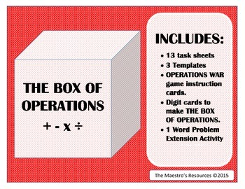 THE BOX OF OPERATIONS (+, -, x, /)