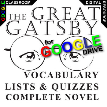 THE GREAT GATSBY Vocabulary List and Quiz Assessment (Crea
