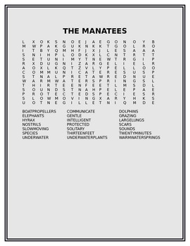 THE MANATEES WORD SEARCH