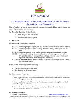 THE MONSTORE by Tara Lazar Kindergarten SS Lesson Plan on