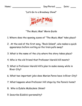 """LET'S GO TO A BROADWAY SHOW:  THE MUSIC MAN MOVIE GUIDE-""""B"""
