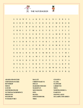 THE NUTCRACKER- A HOLIDAY WORD SEARCH