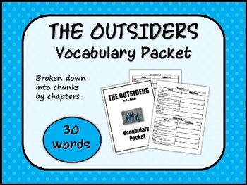 THE OUTSIDERS by S.E. Hinton VOCABULARY PACKET