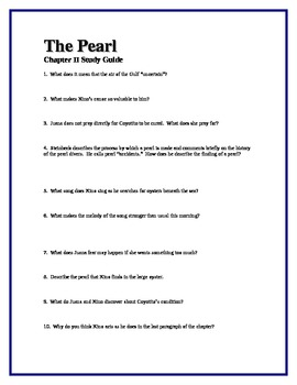 THE PEARL by John Steinbeck Chapter II Study Guide Questio