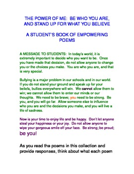 THE POWER OF ME:Original anti-bullying poetry?'s/discussio