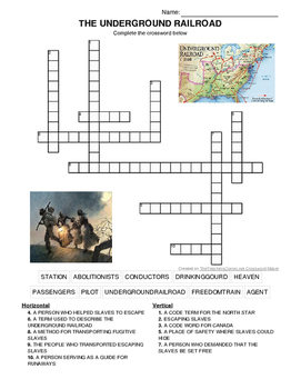 UNDERGROUND RAILROAD CROSSWORD- MARTIN LUTHER KING DAY AND