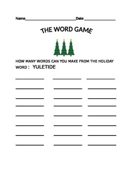 THE WORD GAME -YULETIDE