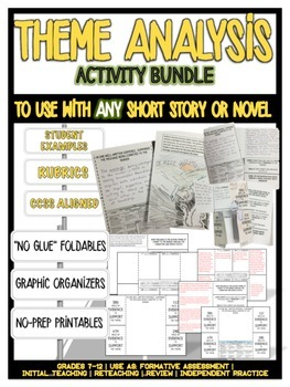 "THEME ANALYSIS ""FOLDABLE"" ACTIVITY [ANY STORY] CCSS, NO-PR"