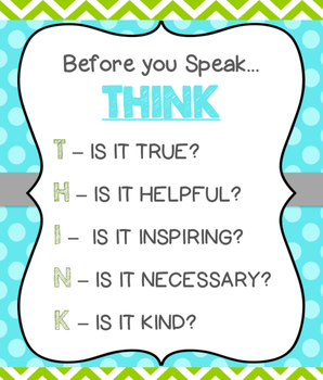 THINK Classroom Sign - Green, Turquoise, and Grey Theme
