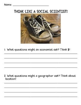 THINK LIKE A SOCIAL SCIENTIST! worksheet