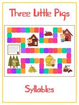 THREE LITTLE PIGS Syllables - ELA First Grade Folder Game