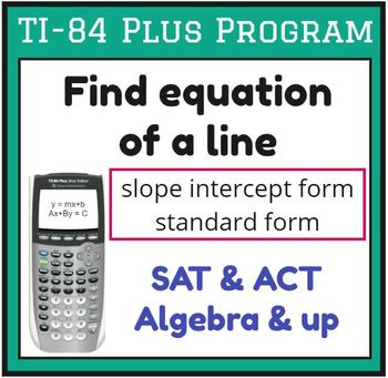 TI-83/84 Plus Program LINES - find equation of a line - fo