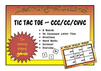 TIC TAC TOE PHONICS BOARD GAME Phase 2 sounds - Long Vowel