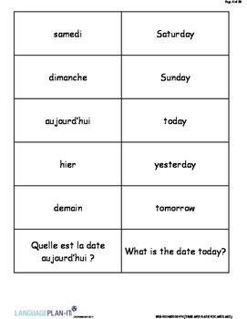 TIME AND DATE VOCABULARY LIST WITH FLASHCARDS (FRENCH 2017