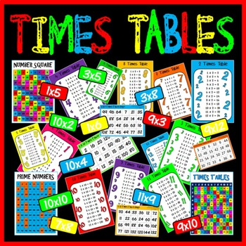 TIMES TABLES POSTERS x 18 A4 - MULTIPLICATION BINGO GAMES