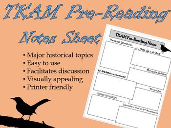 TKAM Pre-Reading Notes Sheet