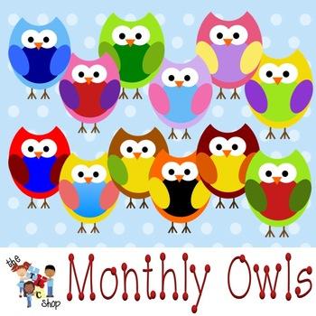 TLC Clip Art - Monthly Owls