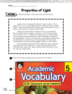 Academic Vocabulary Level 5 - Properties of Light