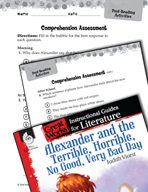 Alexander and the Terrible, Horrible - Comprehension Asses
