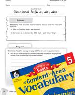 Content-Area Vocabulary Level 5 - Directional Prefix a-, a