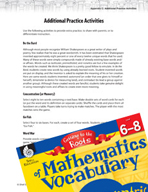 Content-Area Vocabulary Mathematics - Card -  Games and Wo