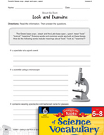 Content-Area Vocabulary Science - Parallel Bases scop-, sk