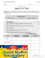 Content-Area Vocabulary Social Studies - Bases fid-, fidel