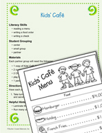 Economics Literacy Activity - Kids' Cafe