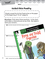 Frog and Toad Together Close Reading and Text-Dependent Qu