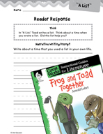 Frog and Toad Together Reader Response Writing Prompts (Gr