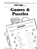 Games and Puzzles Centers for Intermediate Classrooms