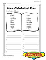 Grade 2 Alphabetical Order Critical Thinking Activities