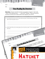Hatchet Close Reading and Text-Dependent Questions (Great