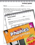 Kindergarten Foundational Phonics Skills: Similarly Spelled