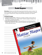Maniac Magee Reader Response Writing Prompts (Great Works Series)