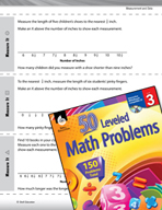 Measurement and Data Leveled Problems: Half and Quarter Inches