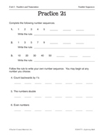 Number Sense: Number Sequences Practice