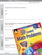 Number and Operations in Base Ten Leveled Problems: Expanded Form