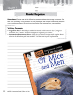 Of Mice and Men Reader Response Writing Prompts (Great Wor