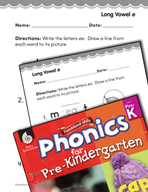 Pre-Kindergarten Foundational Phonics Skills: Long Vowel e