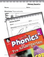 Pre-Kindergarten Foundational Phonics Skills: Primary Sound e
