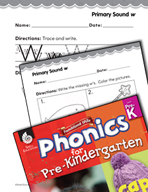 Pre-Kindergarten Foundational Phonics Skills: Primary Sound w