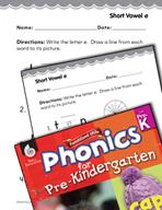 Pre-Kindergarten Foundational Phonics Skills: Short Vowel e