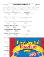 Presidential Puzzlers - Math Critical Thinking Activities (Set 1)