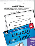 Rhythm and Rhyme Literacy Time: Activities for Me, Myself, and I