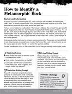 Rocks and Minerals Inquiry Card - How to Identify a Metamo