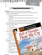Roll of Thunder, Hear My Cry Comprehension Assessment (Gre